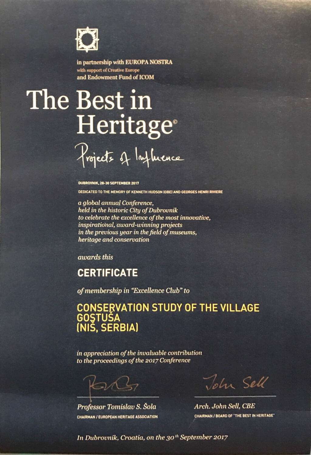 The best in Heritage 2017