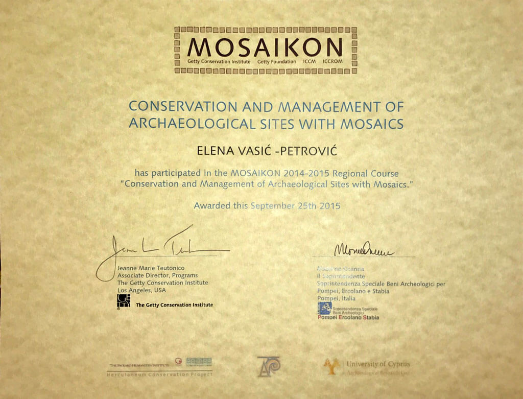 Getty Conservation Institute certificate